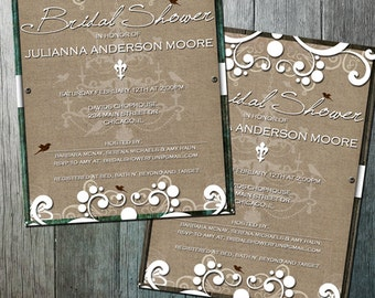 Rustic Burlap Bridal Shower Country Chic with flourishes and wood on burlap | DIY Party Printable | Printable Shower Invitation