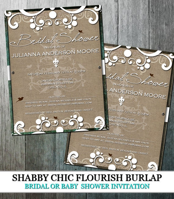 Rustic Burlap Bridal Shower | Shabby Chic with flourishes and wood on burlap | DIY Party Printable | Printable Shower Invitation