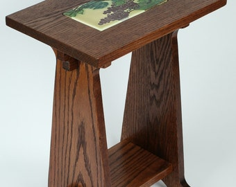 Arts & Crafts Style Oak Table with inset Art tile