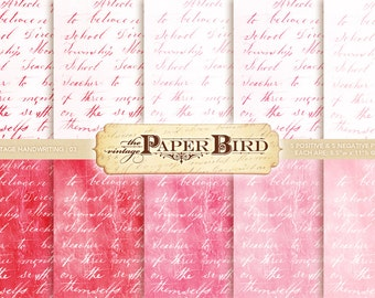 "Vintage Handwriting 10 Piece Digital Scrapbooking Paper Pack, 8.5""x11"", 300 dpi PDF Shabby Chic Pinks Valentines Day"