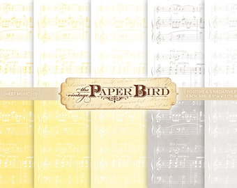 """Sheet Music 10 Piece Digital Scrapbooking Paper Pack, 8.5""""x11"""", 300 dpi .jpg Yellow and Gray INSTANT DOWNLOAD"""