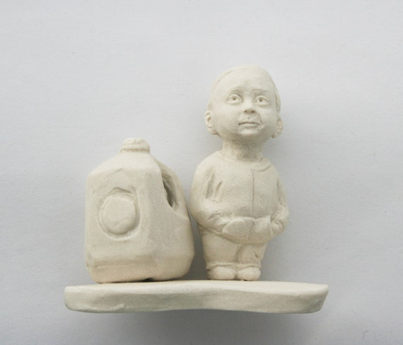 Little Child and Milk Jug Miniature Porcelain Ceramic Figurine
