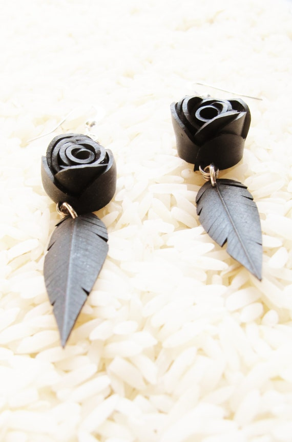 Bike Innertube Black Rose and Feather Earrings - Recycled Jewelry - eco friendly - bicycle - handmade