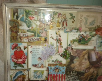 Sale....OoAk Large Upcycled Vintage Postcard Wall Decor,ONE OF A Kind, Eclectic, Victorian,French,French Country, Shabby Chic