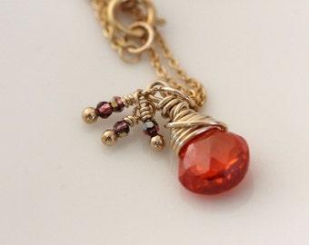 Orange Zircon Necklace W / Swarovski Crystal Dangles Wrapped in 14k Gold Filled Wire, Orange Gemstone Pendant, Handmade by Girlthree