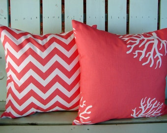 """Set of 2 18""""x18"""" coral, white chevron print, coral print- decorative pillow cover-gifts under 40-throw pillow"""