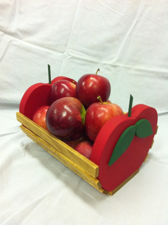 Items similar to wooden apple basket wooden home decor for Apple home decor