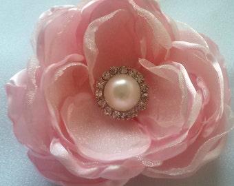 Blush pink hair accessory, blush pink wedding fascinator, pink photography prop, handmade satin flower