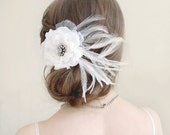 Vintage Brooch White Flower Feather Bridal Hairclip, Bridal Flower Hairclip - Something Old - BlueBrocade