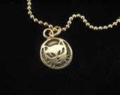 Mini sterling silver Cat head pendant with mini silver ball chain - double sided with writing on back - hand etched