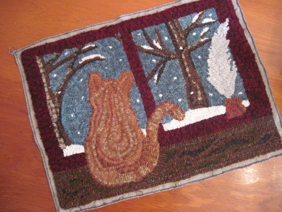 """Hooked Rug Pattern - """"Tesla's First Snow"""" - 16"""" x 22"""""""