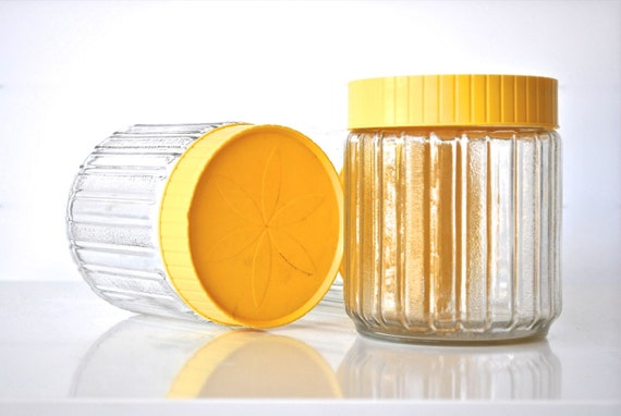 RESERVED Glass Storage Containers with Yellow Lids