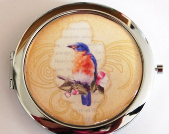 Bird compact mirror, compact mirror, Bird mirror, mirror, purse mirror, purple, gold, gift for her (2213)