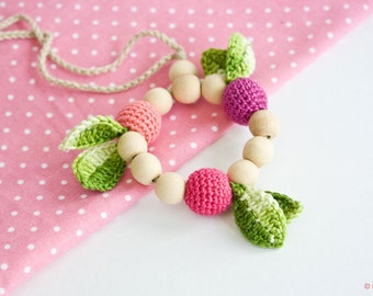 Crochet teething ring - Handmade baby teether, Wooden teether - Teething Toys by FrejaToys