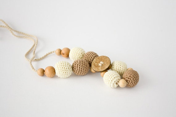 Nursing Necklace in Cream and Dark Beige with Coco Button - Babywearing,Teething Toy, Breastfeeding, Baby Shower Gift - FrejaToys