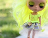 NEON Yellow and gray plaid  PARTY Dress for Blythe / tulle petticoat included