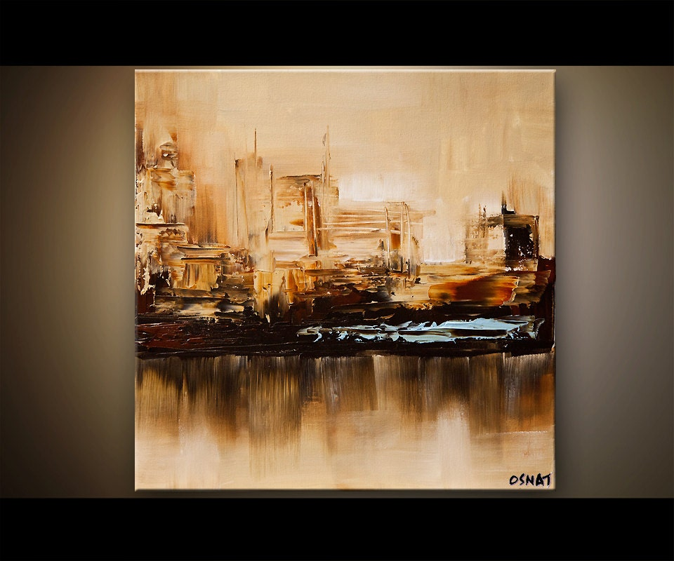 City painting 24x24 original contemporary abstract modern for Contemporary oil paintings