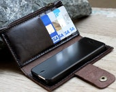iPhone5/ Soil brown leather iPhone wallet with case and mini zip