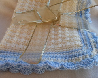 Off White and Blue Crocheted Baby Stroller/Car Seat Blanket & Cap
