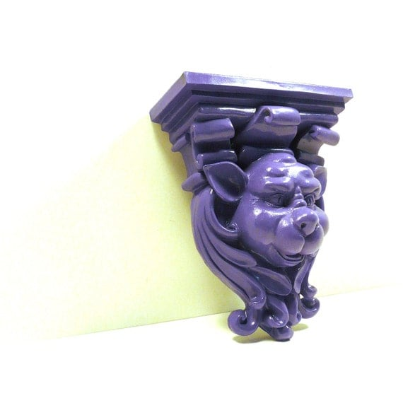 Gargoyle wall shelf goth purple home decor wall decor by for Gargoyle decor