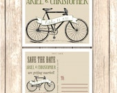 Rustic Bicycle Save the Date Cards and Announcements-This Postcard style save the date saves money on envelopes and postage