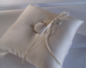 Basic Elegance Silk Shantung Ring Bearer Pillow  Ivory or White