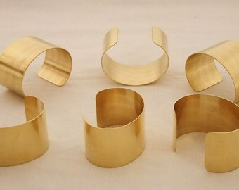 Set of 6 Brass Bracelet Cuff Blanks For Jewelry Making 1.5 inch