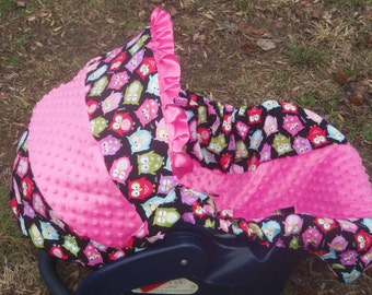 Owl pink Minky baby car seat cover infant seat cover slip cover Graco fit Hot pink minky universal baby trend evenflo