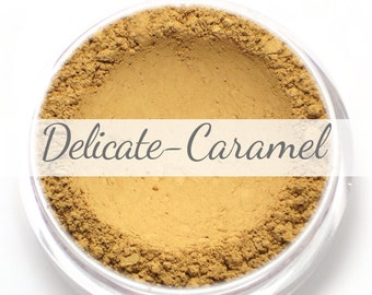 Vegan Mineral Foundation Sample - Delicate Formula CARAMEL - medium shade with a yellow undertone