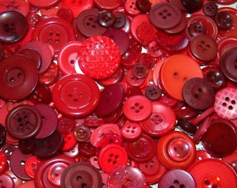 "200 Assorted Red and Dark Red Buttons - bulk buttons in mixed sizes 1/8"" up to 1-1/2"""