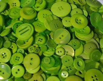 "100 Small Chartreuse Lime Green Buttons - vivid neon green color, no shanks, bulk buttons in small sizes 1/8"" up to 5/8"""
