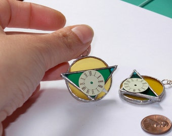Green and Yellow stained glass earrings with clock-face/dial