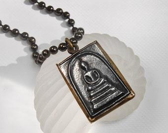 Buddha Pendant on Gunmetal Ball Chain . Unisex Neckwear