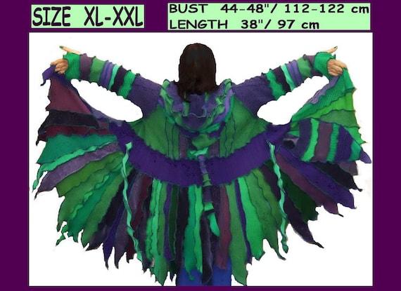 ELf sWEATER, elf cOAT,  women hoodie, costium, gypsy, patchwork coat, Recycled dress, Upcycled jacket.