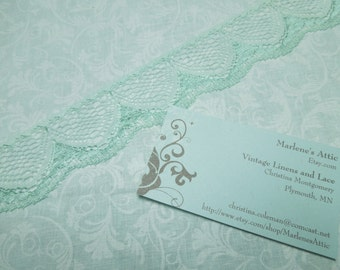 1 yard of 1 1/2 inch Mint Green chantilly lace for bridal, wedding, garters, headbands, crafts, baby, lingerie by MarlenesAttic - Item S1