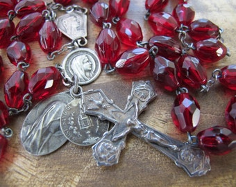 Deep Red Vintage Rosary with Extra Medals and Beautiful Crucifix