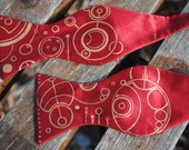 RESERVED - Gallifreyan bow tie in red and bronze - for Janice Brewer