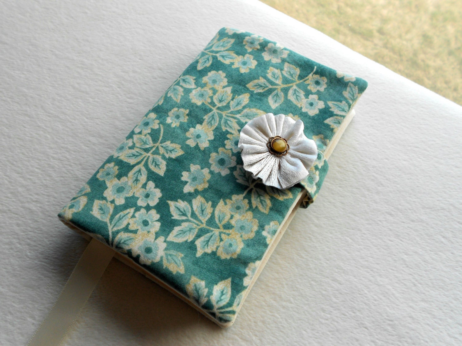Reusable Fabric Book Cover : Blue flowers cotton paperback book cover cloth