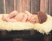 Crocheted Sherlock Holmes Style Ear Flap Brim Hat 0-3 Months MADE TO ORDER