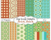Brick Brack Digital Papers  in Aqua, Red, Green for Digital Scrapbooking, Card Making, Web Design, Instant Download