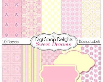 Sweet Dreams Digital Scrapbook Paper , Instant Download,  in Pink and Yellow for Digital Scrapbooking, Card Making