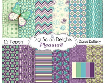 Pleasure Digital Scrapbook Paper in Turquoise Blue,  Purple for  Scrapbooking, Card Making, Photo Backgrounds, Instand Download