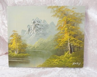 Vintage Oil Painting on Canvas Snow Capped Mountains Lake Landscape Scene Painting on Wood Stretchers Signed Fury 8 x 10