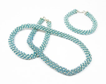 Turquoise and Silver Russian Spiral Jewelry Set