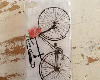 Vintage bike and roses chevron iphone 4 4s 5 5s 5c 6 case