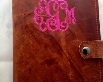 Rustic 2 tone brown leather journal cover refillable,monogramming included. snap closure