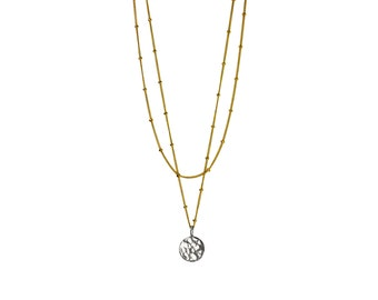 Dangling Karats. Gold filled necklace with hammered sterling silver disc, delicate and minimalist yet strong.