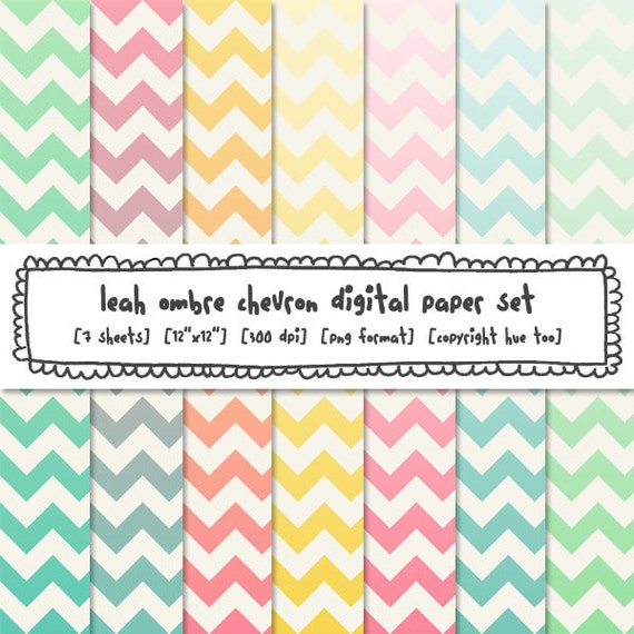 Items similar to ombre pastel chevron digital paper ...
