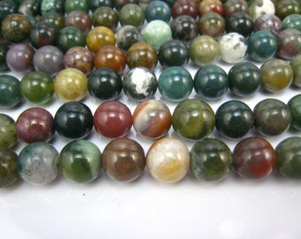 Indian agate/fancy jasper round bead 10mm 15 inch strand