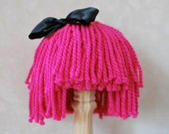 Yarn Hair Wig Pink with Black Ribbon Lalaloopsy Crumbs